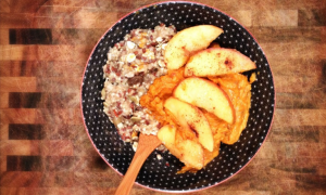 Vegan Mashed Yams with Caramelized Apples