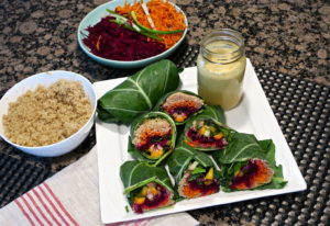 Mango Quinoa Collard Green Wraps with Tahini Sage Miso Dip