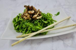 Kale Pesto Zucchini Noodles with Marinated Mushrooms | Raw Vegan | Oil-Free