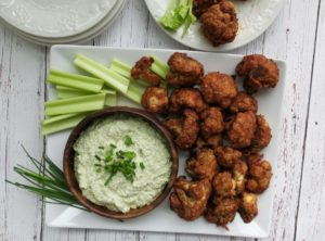 Chipotle Buffalo Cauliflower Wings & Cashew Dill Ranch Dip