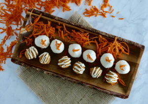 Raw Carrot Cake Bliss Balls + Cashew Frosting