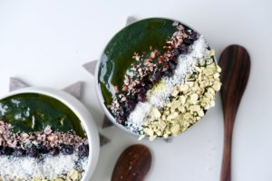 St. Patrick's Day Deep Green Cauliflower Spirulina Smoothie Bowl