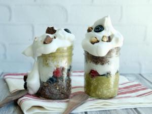 How to Make an Aquafaba Whipped Cream Parfait | Blueberry Matcha | Raw Vegan