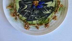 Raw Vegan Matcha Charcoal Swirl Cheese Cake