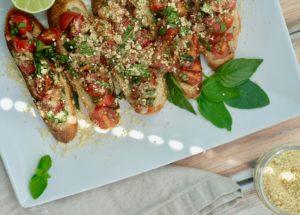 Fresh Vegan Bruschetta with Cashew Parmesan | Oil-Free