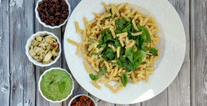 Vegan Hemp Pesto Pasta Salad   GF + Oil-Free + Ready in 20