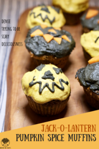 Jack-O-Lantern Pumpkin Spice Muffins + Charcoal Turmeric Icing