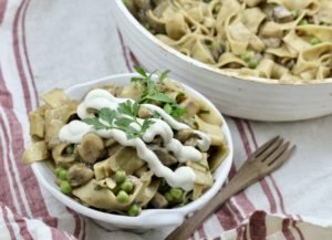 Vegan Mushroom Stroganoff with Garlic Cream Sauce