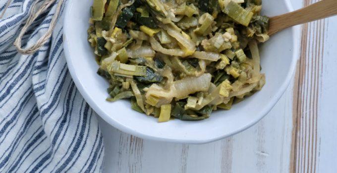Simple Caramelized Leek & Onion Side Dish | Oil-free